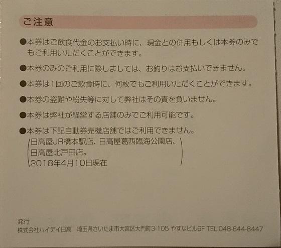ハイデイ日高 優待の画像