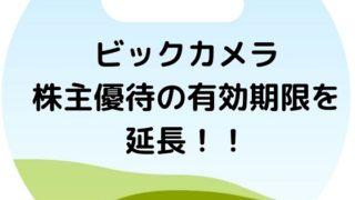ビックカメラ 株主優待 延長 期限