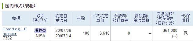 【IPO】当選した、Branding Engineer「ブランディング エンジニア」(7352)をPTSで売却!!