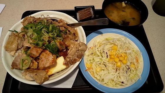 【優待ご飯】松屋フーズホールディングス (9887)の松屋で「にんにくバターのごろチキコンボ牛めし生野菜セット(大盛り)」を食べてきました♪
