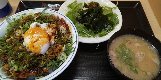 【優待ご飯】アークランドサービス(3085)の「かつや」で「ねぎ玉カツ丼(竹)、とん汁、サラダ」を食べてきました♪