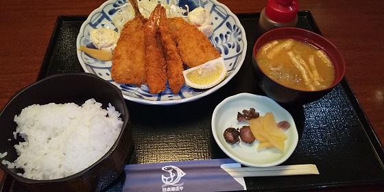 【優待ご飯】大庄 (9979)の「日本海庄や」で「海老・鯵・白身魚フライ合盛り定食」を食べてきました♪
