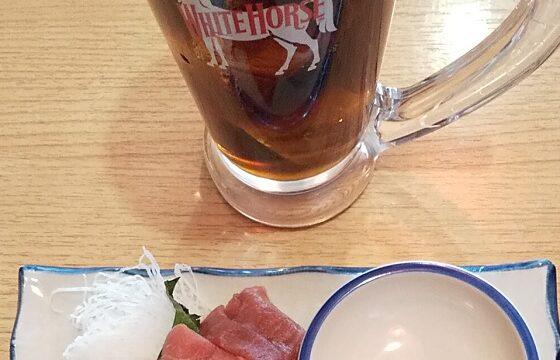 【優待ご飯】トリドールホールディングス (3397)の「晩杯屋」で「まいたけの天ぷら、煮込み(玉子入り)、マクロ刺し」を食べてきました♪