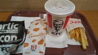 【優待ご飯】日本KFCホールディングス (9873)の「ケンタッキー」で「ガリマヨベーコンサンドセット、キャラメルパイ」を食べてきました♪