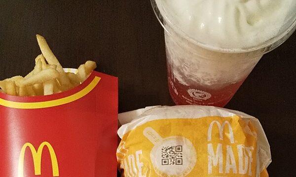 【優待ご飯】日本マクドナルドホールディングス (2702) の「マクドナルド」で「炙り醤油風 トリプル肉厚ビーフ、ポテトL、マックフィズ® 太陽のカシス&オレンジ(果汁3%)」を持ち帰りしました♪