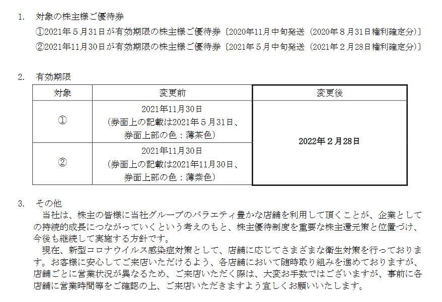 【株主優待】クリエイト・レストランツ・ホールディングス[クリレス] (3387)の優待期限再延長! 2021年5月31日、2021年11月30日 → 2022年2月28日に!!