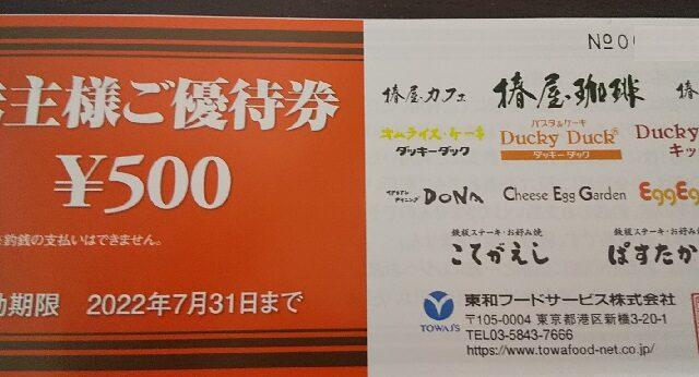 【株主優待】東和フードサービス (3329)の2021年4月権利優待が到着!優待券は「ぱすたかん」、「ダッキーダック」などで使えます!